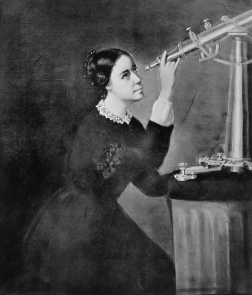 מריה מיטשל. בזכות הוריה קיבלה חינוך איכותי כפי שרק בנים זכו לו באותה תקופה.ציור של הרמיוני דאסל (Dassel) מתוך Wikipedia