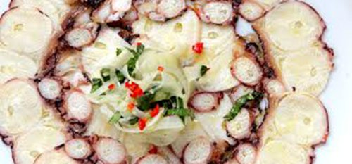 קרפצ'יו תמנון של מסעדת בינדלה. צילום: דניה ויינר