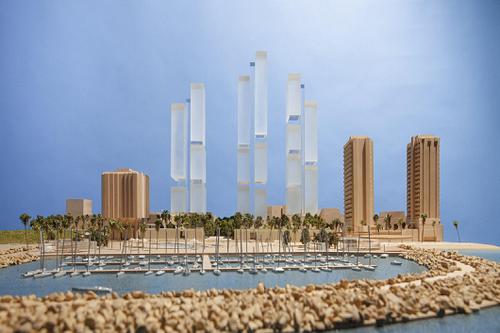 הדמיית תוכנית המגדלים בכיכר אתרים (צילום: פוסטר ושות' אדריכלים לונדון)