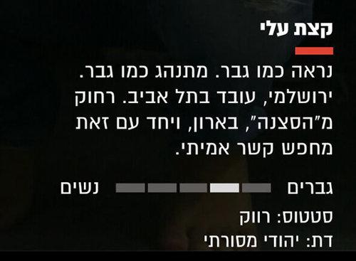 הודעה מתוך אתר הכרויות. צילום מסך