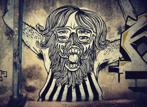 """עבודה של Broken Fingaz שהוצגה בתערוכה """"בפנים: אמנות רחוב בתל אביב"""" (צילום: אתר מוזיאון ת""""א)"""